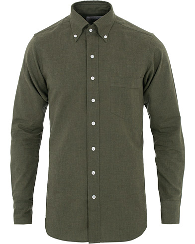 Drake's Slim Fit Flannel Button Down Shirt Green i gruppen Klær / Skjorter / Casual hos Care of Carl (16111911r)