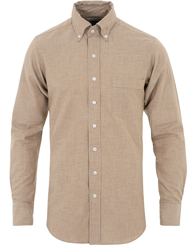 Drake's Slim Fit Flannel Button Down Shirt Beige i gruppen Klær / Skjorter / Casual hos Care of Carl (16112011r)