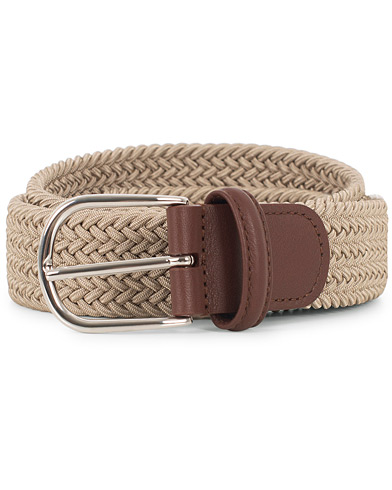 Anderson's Stretch Woven 3,5 cm Belt Beige