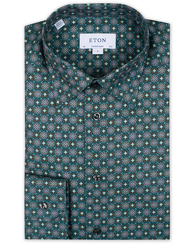 Eton Contemporary Fit Twill Button Under Shirt Green i gruppen Klær / Skjorter / Formelle hos Care of Carl (16201711r)