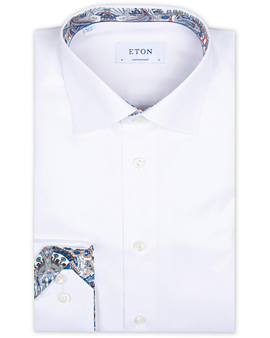 Eton Contemporary Fit Twill Contrast Shirt White i gruppen Klær / Skjorter / Formelle hos Care of Carl (16203011r)