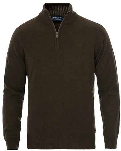 Hackett Lambswool Half Zip Black Coffee i gruppen Klær / Gensere / Zip-gensere hos Care of Carl (16211411r)