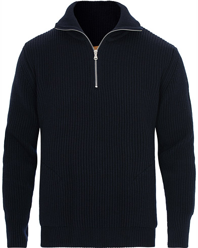 Andersen-Andersen Navy Half Zip Pockets Sweater Navy Blue i gruppen Klær / Gensere / Zip-gensere hos Care of Carl (16220911r)