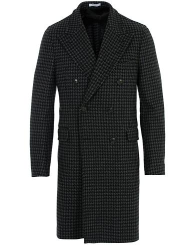 Boglioli K Jacket Double Breasted Houndstooth Coat Dark Grey