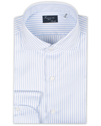 Finamore Napoli Milano Slim Fit Striped Travel Shirt Light Blue