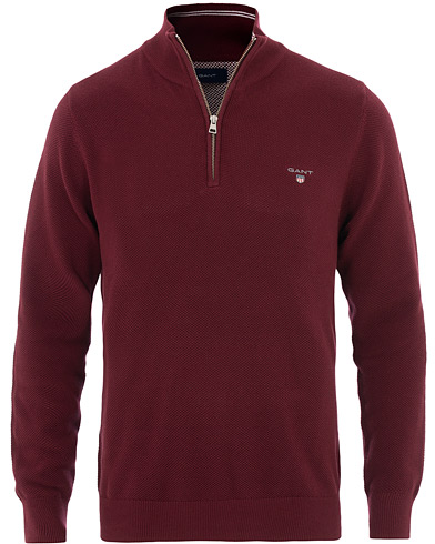 GANT Cotton Pique Half Zip Port Red i gruppen Klær / Gensere / Zip-gensere hos Care of Carl (16275511r)