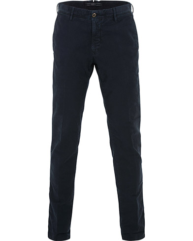 Incotex Slim Fit Garment Dyed Washed Slacks Navy i gruppen Klær / Bukser / Chinos hos Care of Carl (16283611r)