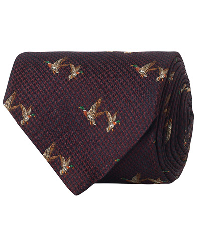 Brooks Brothers Flying Ducks Embroidery 8 cm Silk Tie Burgundy  i gruppen Assesoarer / Slips hos Care of Carl (16292510)