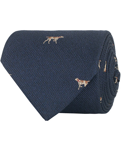 Brooks Brothers Hound Embroidery 8 cm Silk Tie Navy  i gruppen Assesoarer / Slips hos Care of Carl (16292610)