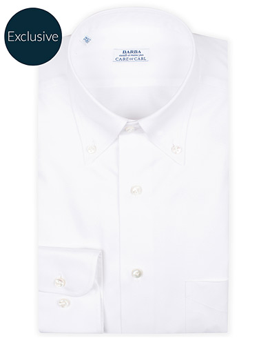 Barba Napoli Slim Fit Oxford Button Down Shirt White i gruppen Klær / Skjorter / Formelle hos Care of Carl (16297911r)