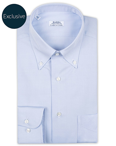 Barba Napoli Slim Fit Oxford Button Down Shirt Light Blue i gruppen Klær / Skjorter / Formelle hos Care of Carl (16298011r)