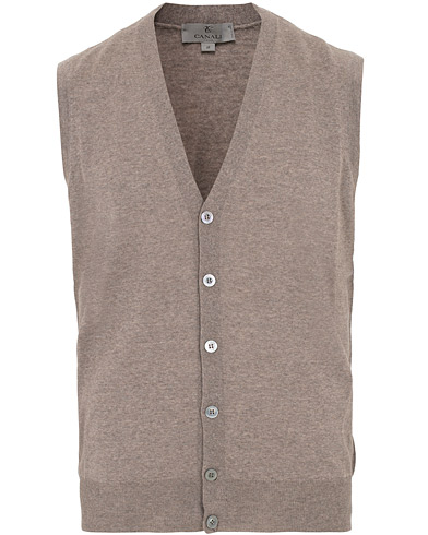 Canali Merino Wool Gilet Light Brown