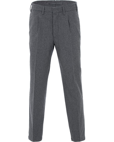 The Gigi Tonga Stretch Flannel Pleated Trousers Grey