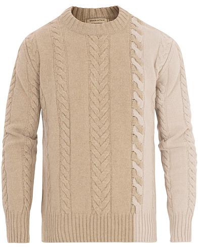 Maison Kitsuné Wool/Cashmere Cable Knit Pullover Ecru/Beige