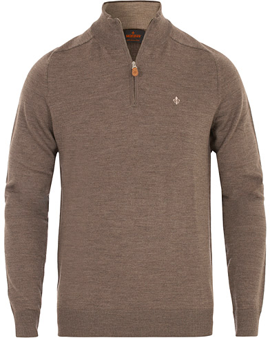 Morris John Merino Half Zip Light Brown i gruppen Klær / Gensere / Zip-gensere hos Care of Carl (16332211r)