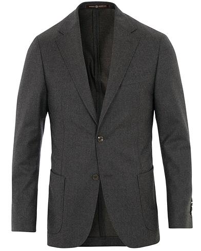 Morris Heritage Mike Patch Pocket Flannel Blazer Brown