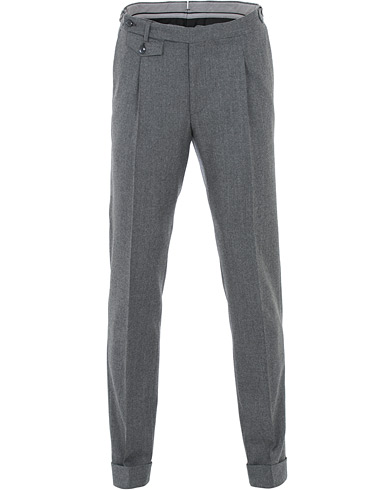 Morris Heritage Jason Flannel Pleated Turn Up Trousers Grey