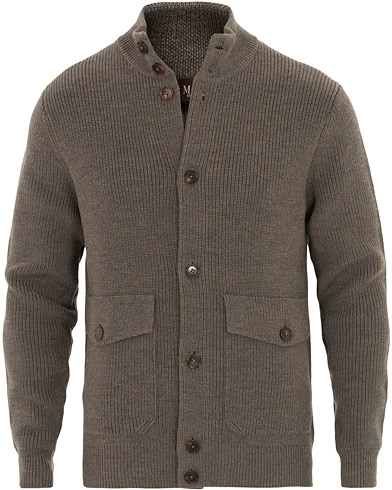Morris Heritage Heritage Bomber Wool Sweater  Brown
