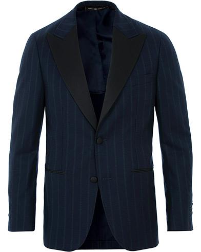 Morris Heritage Striped Limited Tuxedo Blazer Navy