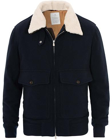 Brunello Cucinelli Cashmere Blend Shearling Collar Jacket Navy