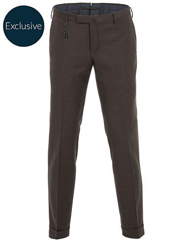 Incotex Slim Fit Flannel Trousers Dark Brown