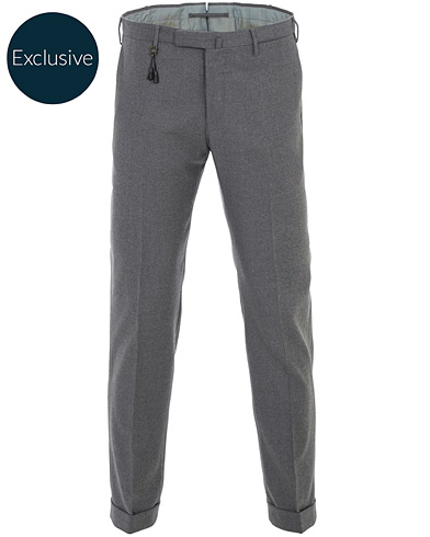 Incotex Slim Fit Flannel Trousers Light Grey i gruppen Klær / Bukser / Flanellbukser hos Care of Carl (16400111r)
