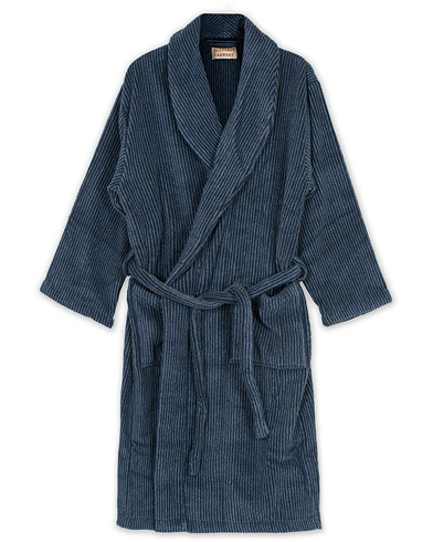 Cleverly Laundry Striped Cotton Terry Robe Navy i gruppen Klær / Pyjamaser & Badekåper / Morgenkåper hos Care of Carl (16403911r)