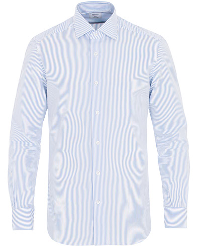 Mazzarelli Soft Cut Away Striped Shirt Light Blue i gruppen Klær / Skjorter / Casual / Casual skjorter hos Care of Carl (16416611r)