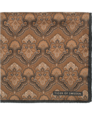 Tiger of Sweden Pais Printed Silk Pocket Square Brown