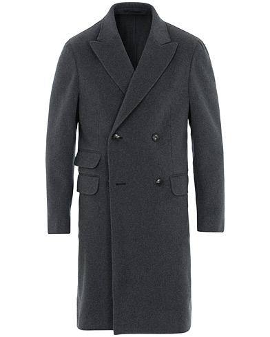 Z Zegna Double Breasted Unlined Beaver Wool Coat Grey Melange
