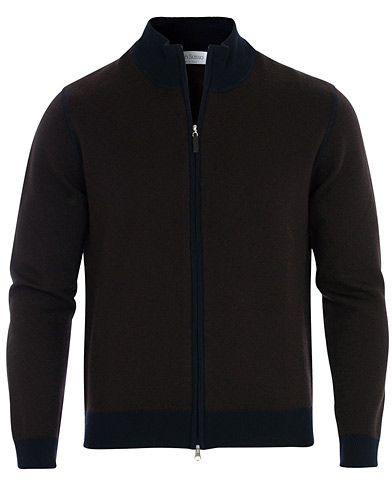 Gran Sasso Merino Fashion Fit Full Zip Brown/Blue i gruppen Klær / Gensere / Zip-gensere hos Care of Carl (16444611r)