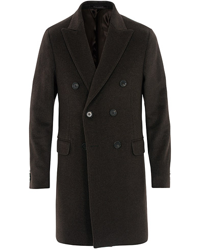 Oscar Jacobson Sebastian Wool/Cashmere Double Breasted Coat Brown