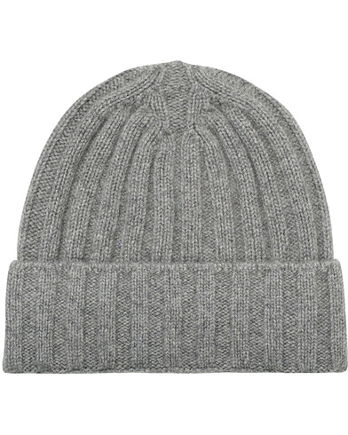 Oscar Jacobson Cashmere Ribbed Beanie Grey i gruppen Assesoarer / Luer hos Care of Carl (16455310)