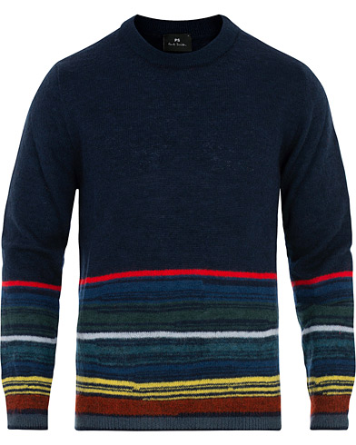 PS Paul Smith Striped Wool Sweater Navy i gruppen Klær / Gensere / Strikkede gensere hos Care of Carl (16464711r)