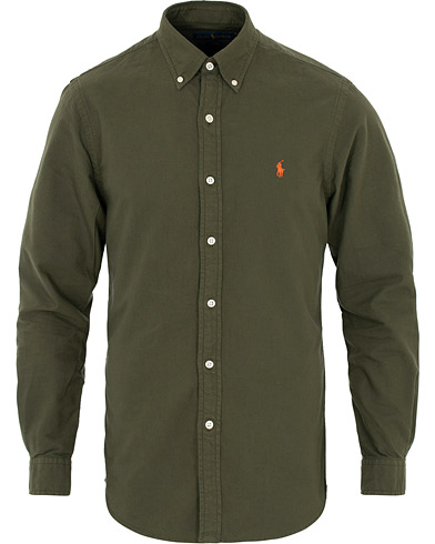 Polo Ralph Lauren Slim Fit Garment Dyed Oxford Shirt Olive i gruppen Klær / Skjorter / Casual hos Care of Carl (16494111r)