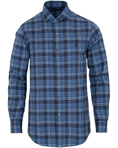 Polo Ralph Lauren Custom Fit Flannel Check Shirt Blue i gruppen Klær / Skjorter / Casual hos Care of Carl (16496311r)