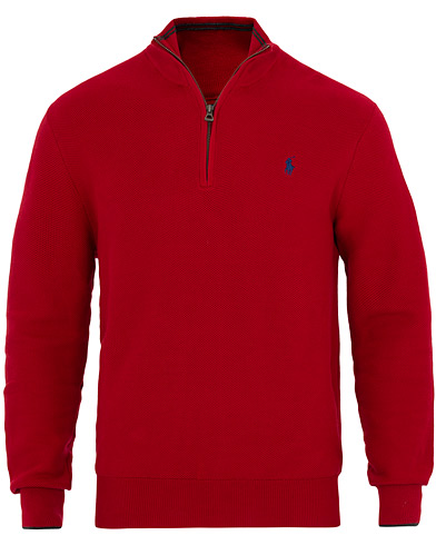 Polo Ralph Lauren Textured Half Zip Red i gruppen Klær / Gensere / Zip-gensere hos Care of Carl (16505411r)