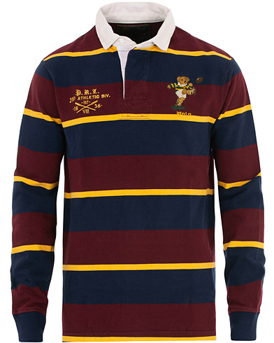 Polo Ralph Lauren Bear Stripe Rugger Wine Red i gruppen Klær / Gensere / Rugbygensere hos Care of Carl (16508511r)