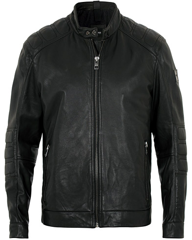 BOSS Casual Jagson Leather Jacket Black i gruppen Klær / Jakker / Skinnjakker hos Care of Carl (16529511r)