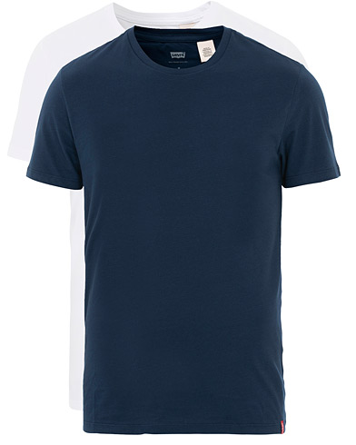 Levi's Slim 2-Pack Crew Neck Tee Navy/White i gruppen Klær / T-Shirts / Kortermede t-shirts hos Care of Carl (16554111r)