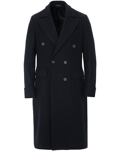 Berg&Berg Nicholas Double Breasted Wool Polo Coat Navy