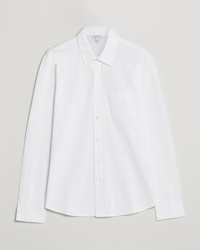 Sunspel Long Sleeve Pique Shirt White