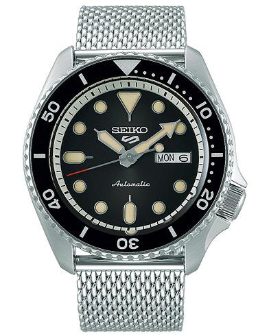 Seiko 5 Sports Mens 43mm 100m Automatic Steel Mesh/Black Dial