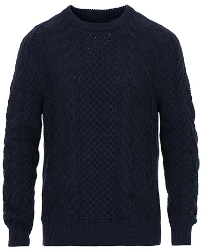 Polo Ralph Lauren Aran Knitted Sweater Hunter Navy i gruppen Klær / Gensere / Strikkede gensere hos Care of Carl (16617211r)