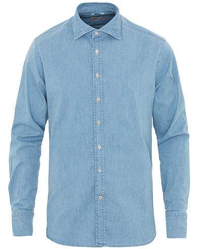 Stenströms Fitted Body Garment Washed Shirt Light Denim i gruppen Klær / Skjorter / Casual hos Care of Carl (16650011r)