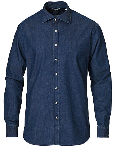 Stenströms Fitted Body Garment Washed Shirt Dark Denim i gruppen Klær / Skjorter / Casual hos Care of Carl (16650111r)