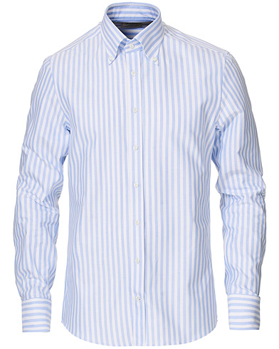 Stenströms Slimline Striped Button Down Oxford Shirt Blue 38 - S