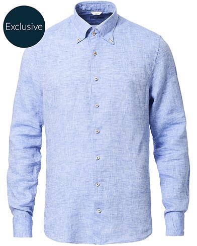 Stenströms Slimline Button Down Linen Shirt Light Blue
