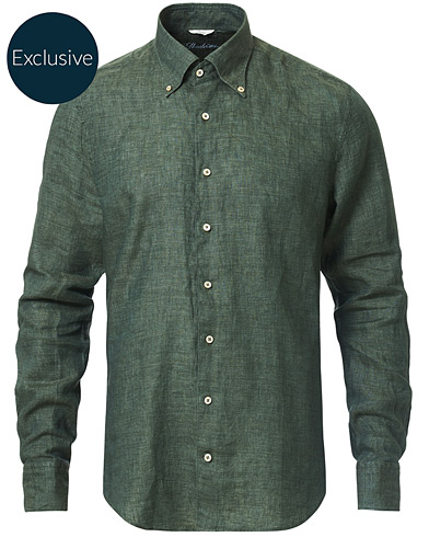 Stenströms Slimline Button Down Linen Shirt Green