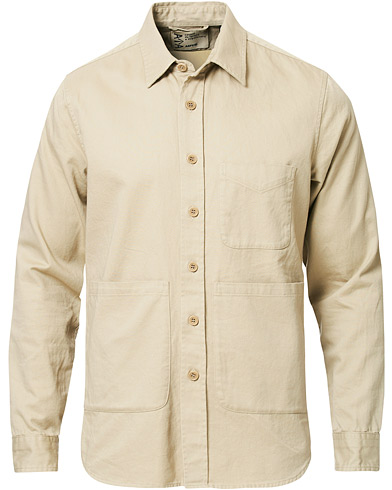 Aspesi Peached Cotton Utility Shirt Sand